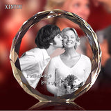XINTOU 3D Laser Engraved Personalized Crystal Frame DIY Customized Round Baby Photo Frames Gifts for Wedding Anniversary MOM