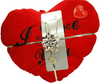 'Forever And A Day 'Pendant & Red Heart Cushion Valentines day Gift Set for Her