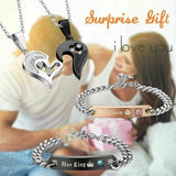 *VALENTINES DAY GIFT COUPLE NECKLACE BRACELETS SET FOR WIFE GIRLFRIEND WOMEN HER