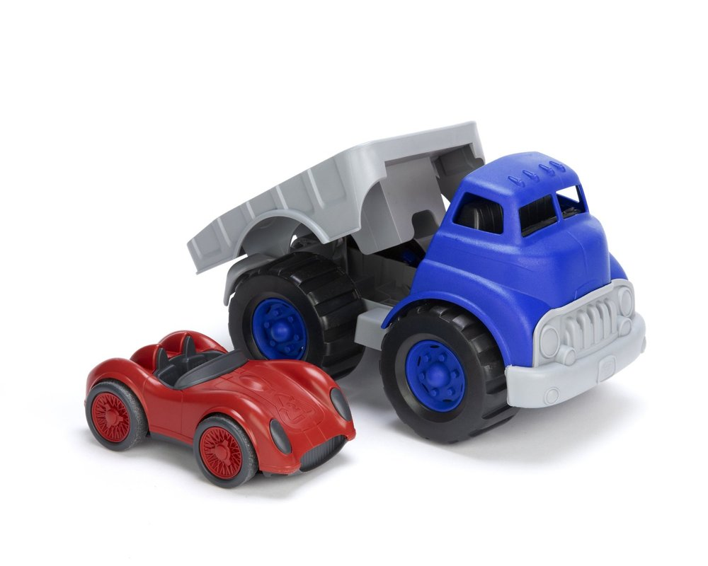 GREEN TOYS - FLATBED TRUCK & RACE CAR