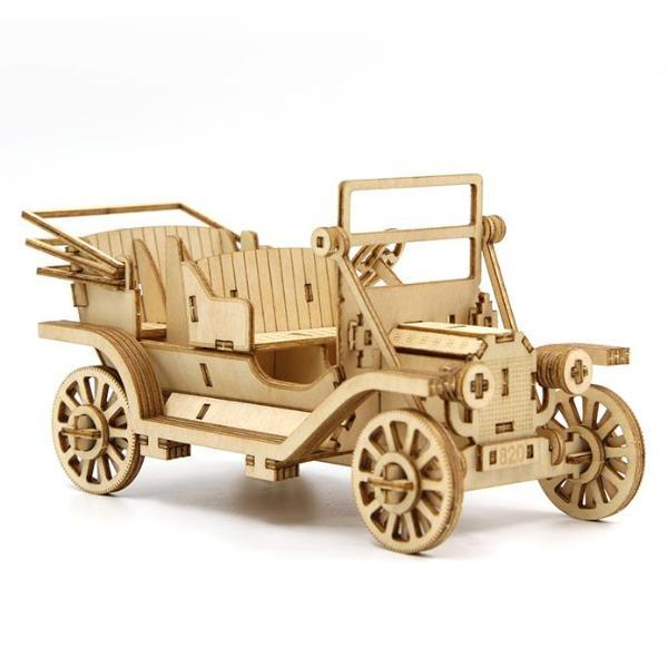 3D WOODEN PUZZLE - CLASSIC CAR PHONE STAND
