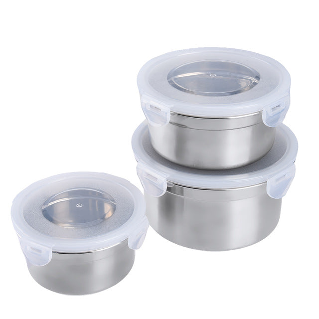 Uarter 3PCS Stainless Steel Food Grade Containers Leak-proof  Air-tight Lunch Containers with Lids