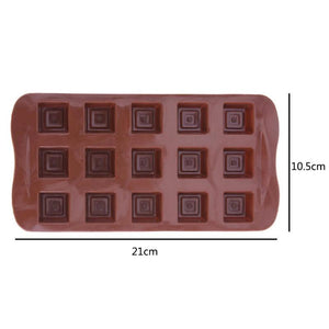 15 Cavities Silicone Chocolate Molds Square Grid Shape Candy Jelly Ice Molds Cookie Cake Mould Baking Tools