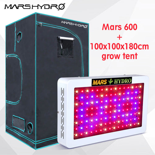 Mars Hydro LED Grow Light Full Spectrum Mars 600W Grow Light +100x100x180cm grow tent for Indoor Plants Garden Greenhouse plants