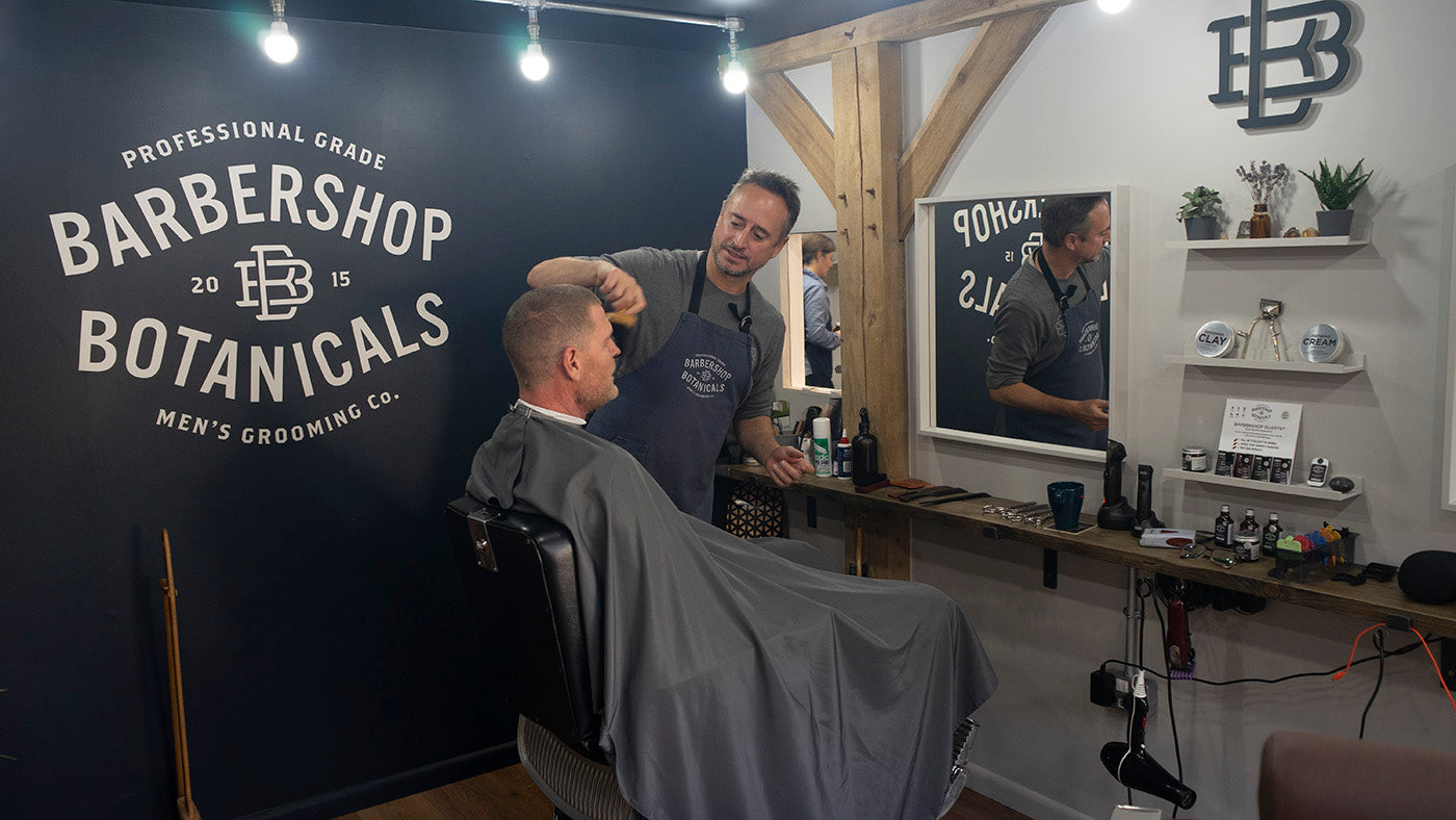 The Botanicals Barbershop, in West Meon, Hampshire. UK.