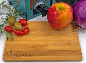 Vegan AF with Rock Horns Cutting Board with Fruit and Olives