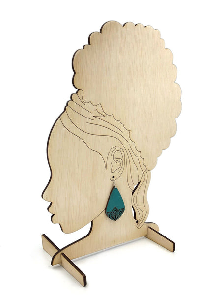 Earring Display Stand SVG, Black Woman Profile, Earring Display Laser File, Earring Display for Craft Show