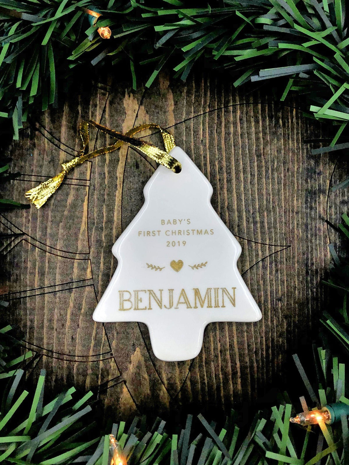 Baby's First Christmas Ornament Personalized Tree Shape