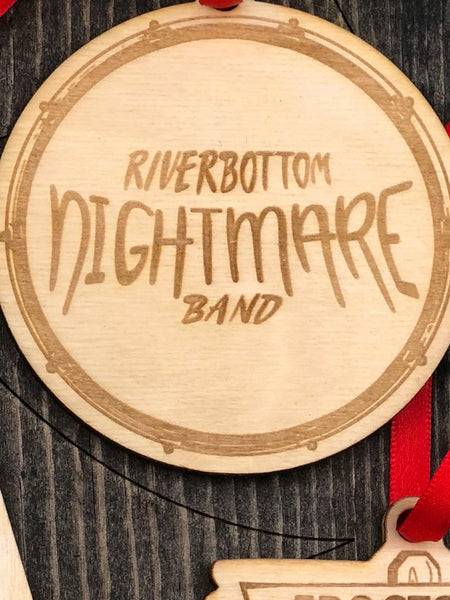 """Riverbottom Nightmare Band"" on bass drum face."