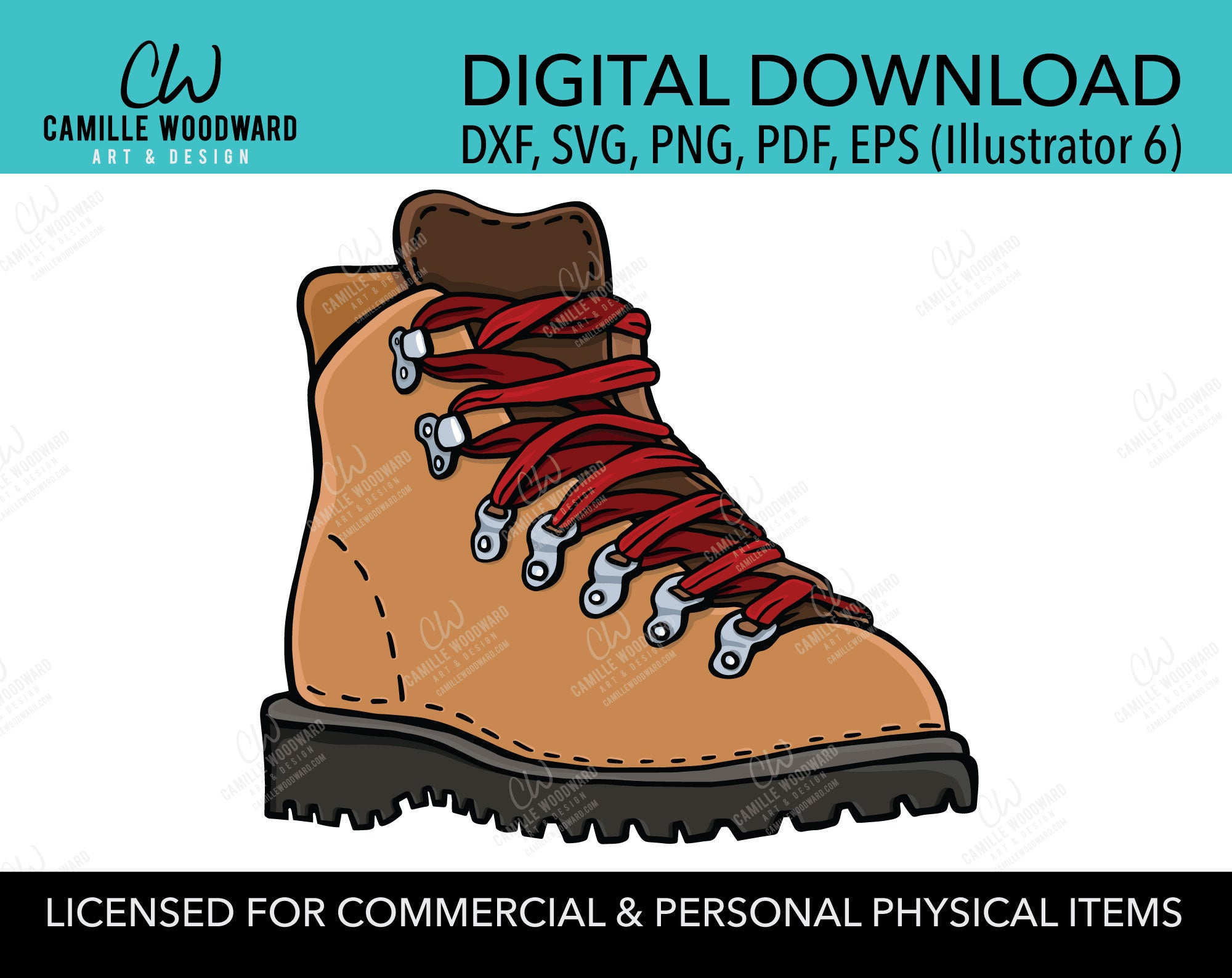 Hiking Boot Vintage SVG, Brown and Red Laces
