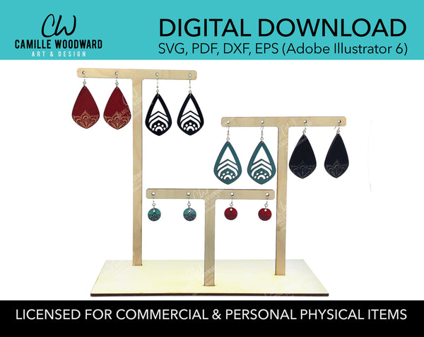 Earring Stand SVG, Earring Holder SVG, 3-Tree Tier Earring Display Stand, Laser Cut File SVG -Instant Digital Download for Glowforge Laser