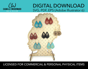 Earring Display Stand SVG, Black Woman Hair Pouf Small Holes - INSTANT Digital Download Laser Cut File