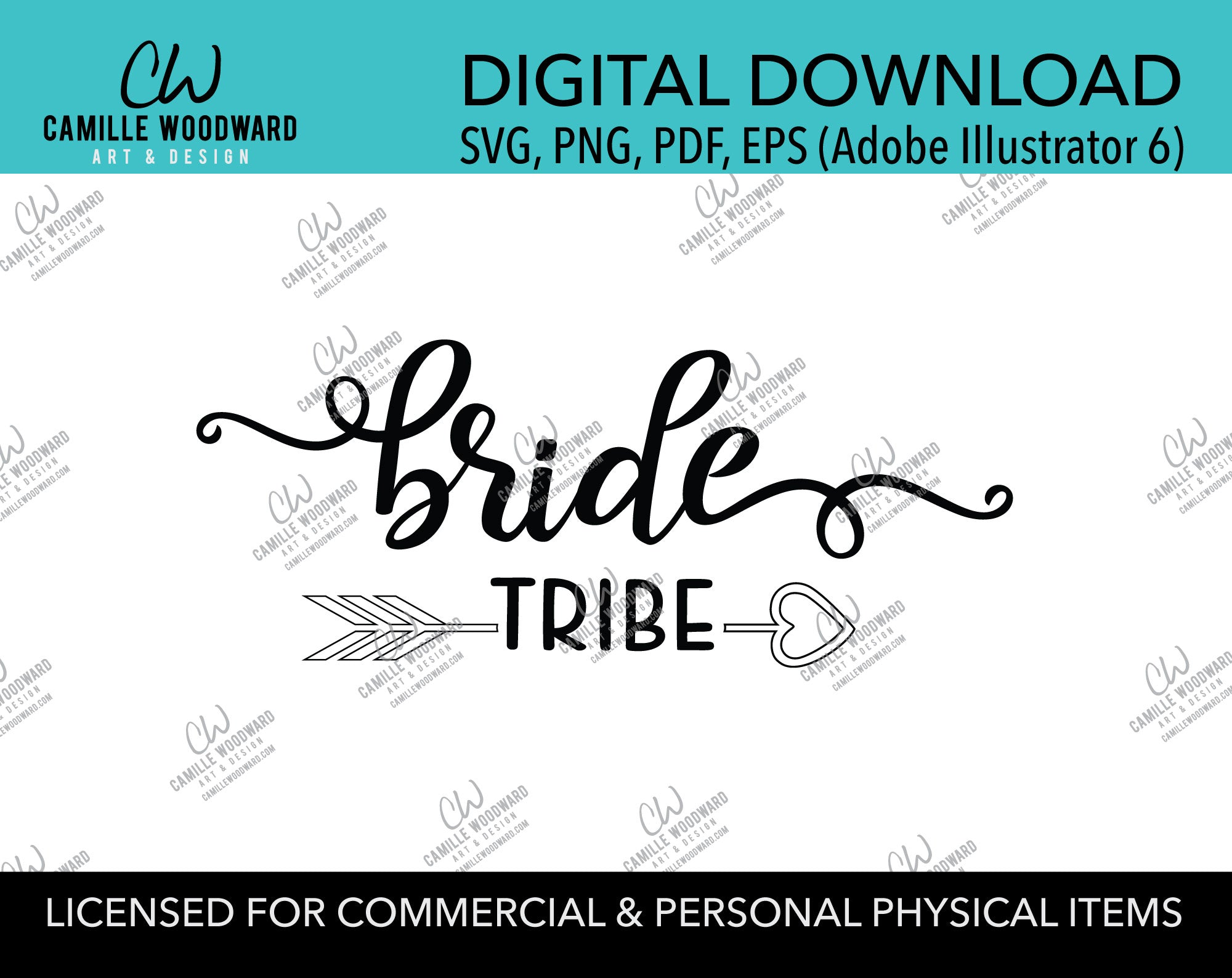 Bride Tribe Arrow Heart Black and White, EPS, PNG SVG - Digital Download