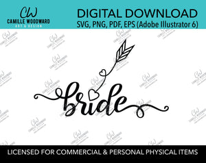 Bride Arrow Heart Black and White, EPS, PNG SVG - Digital Download
