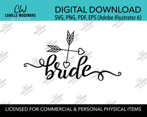Bride Two Arrows Heart Black and White, EPS, PNG SVG - Digital Download