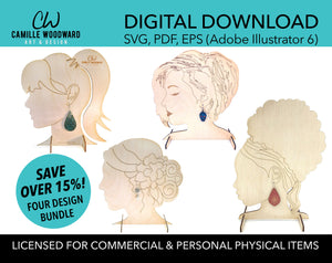Earring Stand SVG Bundle, Life Size Display, Glowforge Earring Stand, Earring Display Stand, Earring Display Laser File - Digital Download