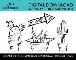 prickly pear cactus agave saguaro wood arrow illustration clip art