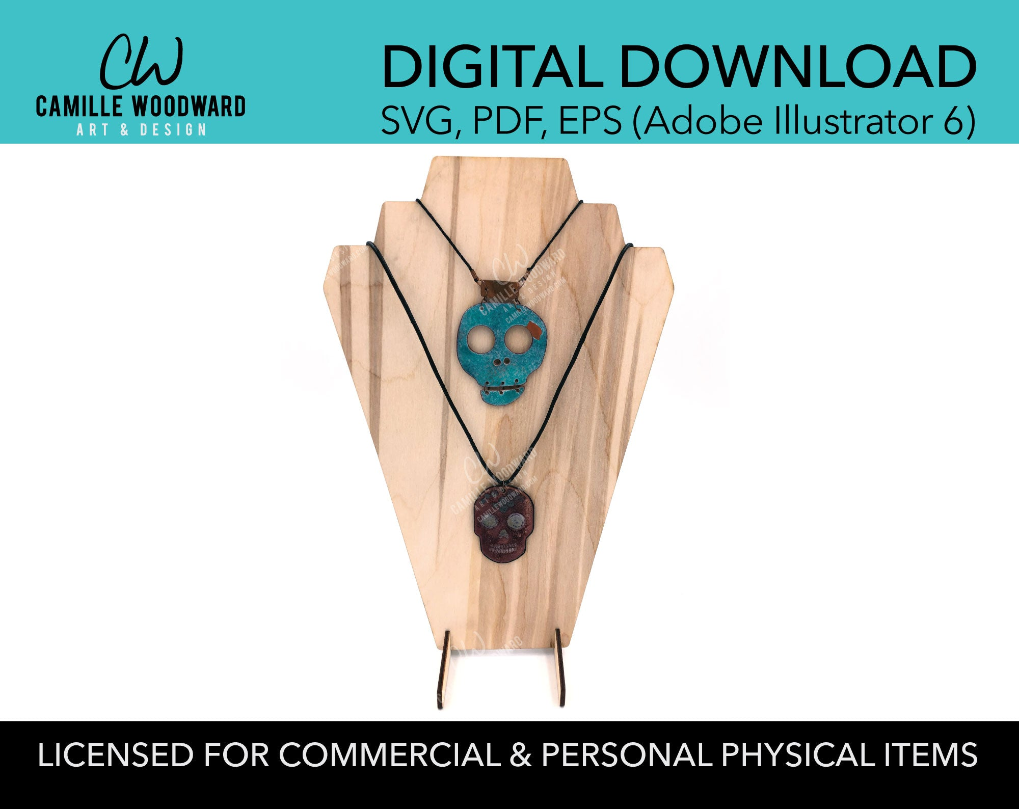 Necklace Display Stand, Deco Bust - INSTANT Digital Download