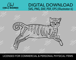 Cat Skeleton Reclining Black and White, EPS, SVG, PNG - Transparent Digital Download