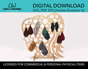 Earring Display Stand, Large Circles Female Ponytail - INSTANT Digital Download