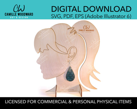 Earring Display Stand, Female Ponytail - INSTANT Digital Download