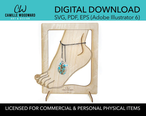 Ankle Bracelet Foot Jewelry Display Stand SVG EPS - INSTANT Digital Download Laser Cut File