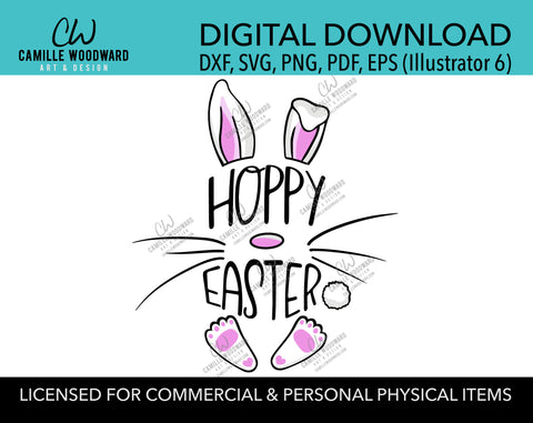 Happy Easter SVG, Easter Bunny SVG, Hoppy Easter, Pink and White Bunny Ears