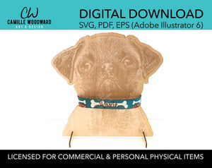 Pet Display Stand, Pug - INSTANT Digital Download
