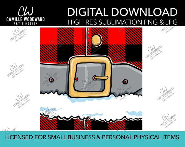 Santa Belly Plaid Red - Raster PNG JPG Sublimation