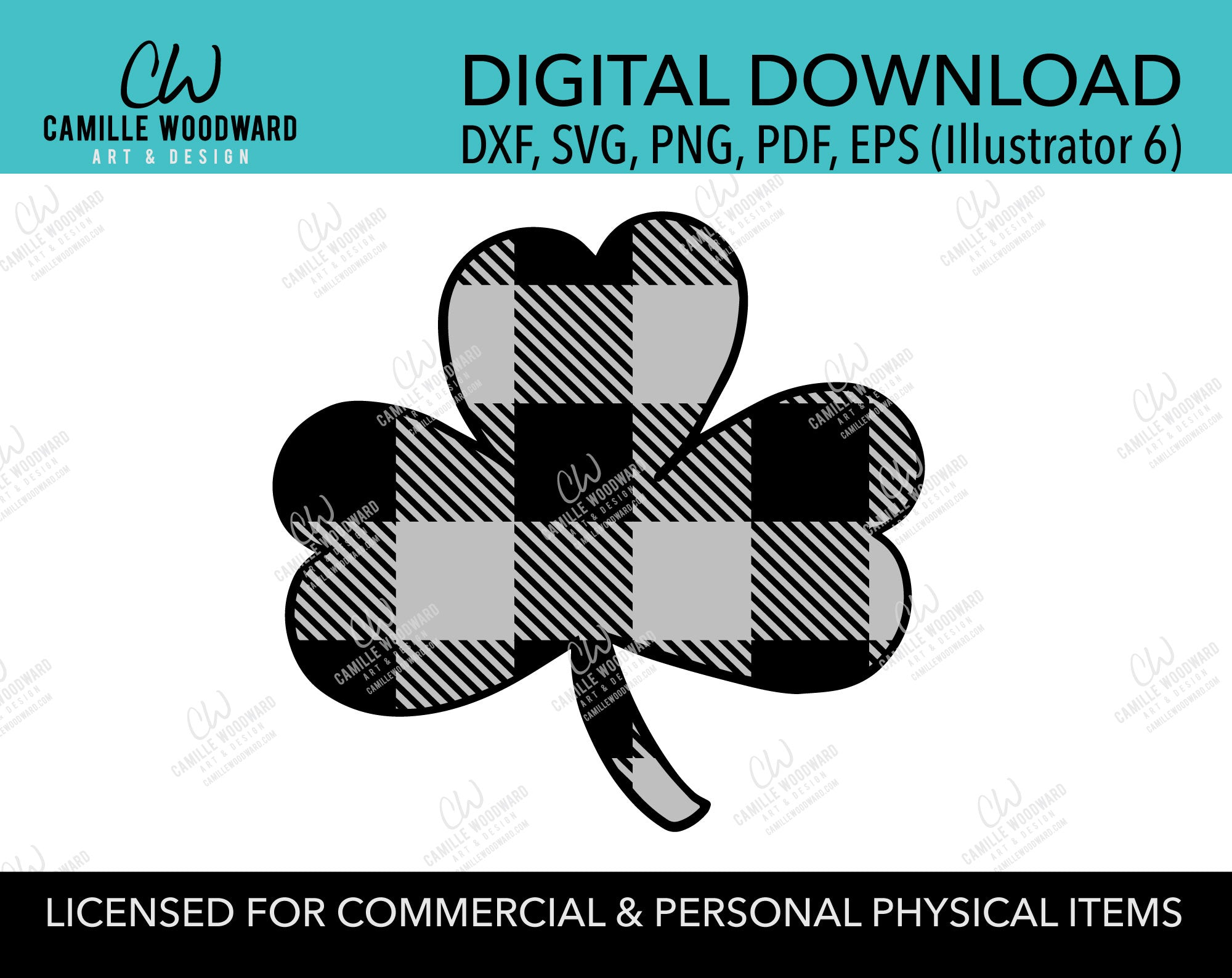 St Patrick's Day SVG, Buffalo Plaid Shamrock SVG, Cricut, Gray Lucky Clover - Sublimation Digital Download Transparent