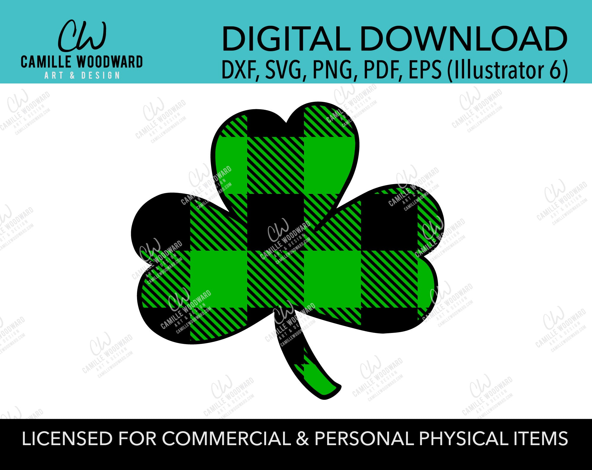 St Patrick's Day SVG, Green Buffalo Plaid Shamrock SVG