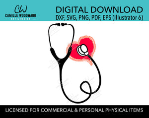 Nurse Stethoscope SVG, Heart Clip Art - Digital Download