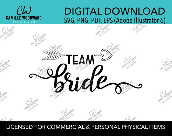 Team Bride Arrow Heart Black and White, EPS, PNG SVG - Digital Download