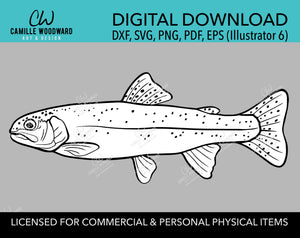 Rainbow Trout SVG Clip Art Black and White Drawing