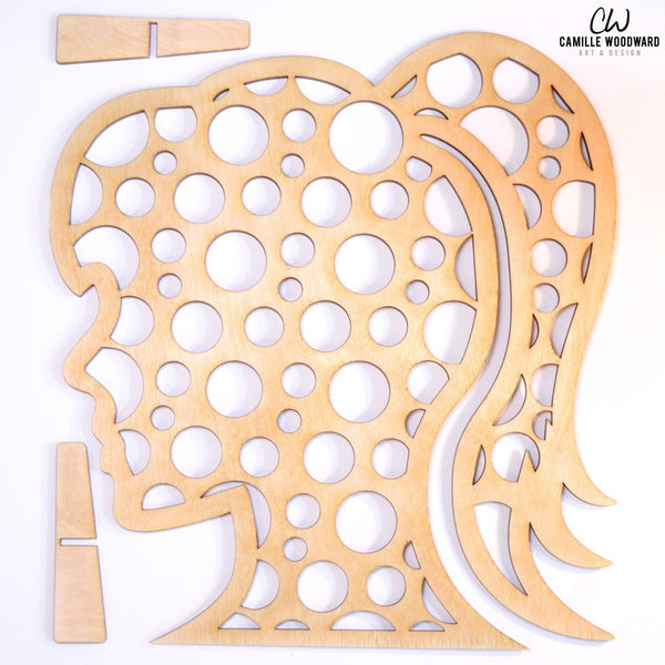 Earring Display Stand, Large Circles Female Ponytail - INSTANT Digital Download for Laser Cutters