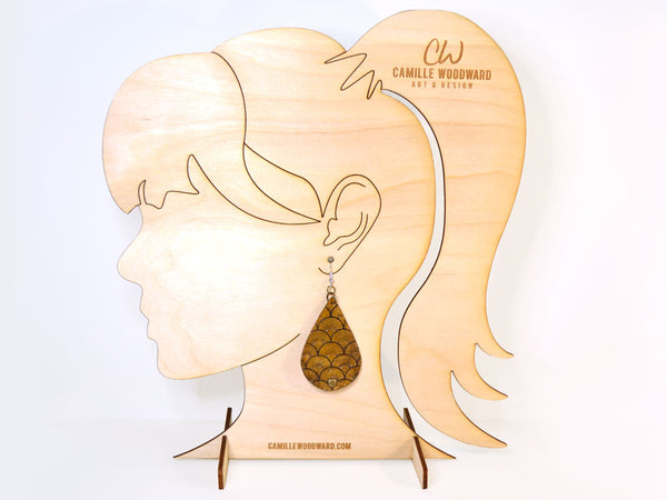 Earring Display Stand, Female Ponytail - INSTANT Digital Download for Laser Cutters