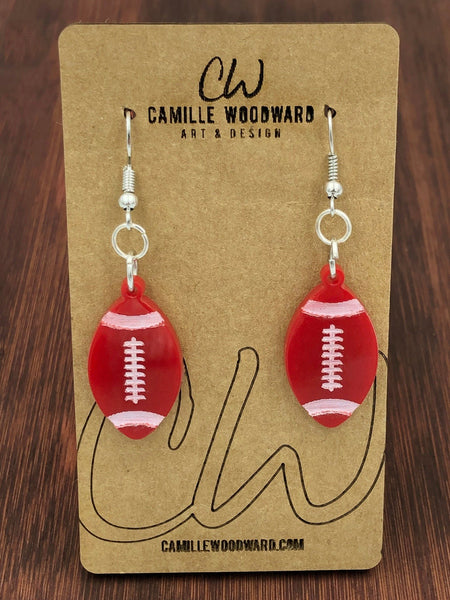 Football Shape Earrings - Glitter, Burnt Orange, White, Black, Charcoal, Maroon, Gold, Yellow, Royal Blue, Turquoise, Green, Purple