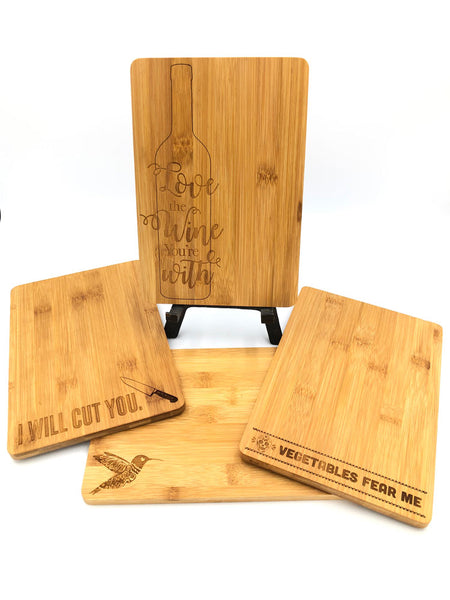 Bamboo Cutting Board - Vegetables Fear Me, Hummingbird, I Will Cut You, Love The Wine You're With
