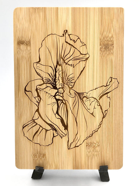 Iris Flower Art Cutting Board - Bamboo Wine and Cheese Tray Engraved