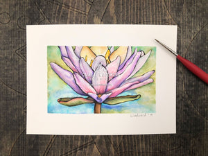 Lotus Flower Original Watercolor Painting of a Water Lily Flower Bloom