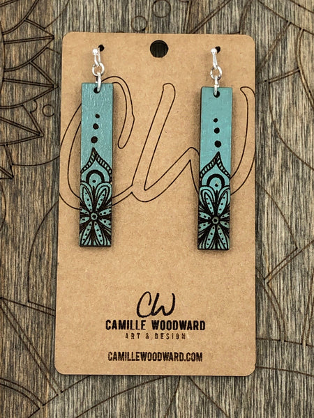 Mandala Engraved Earrings - Teardrop and Rectangle