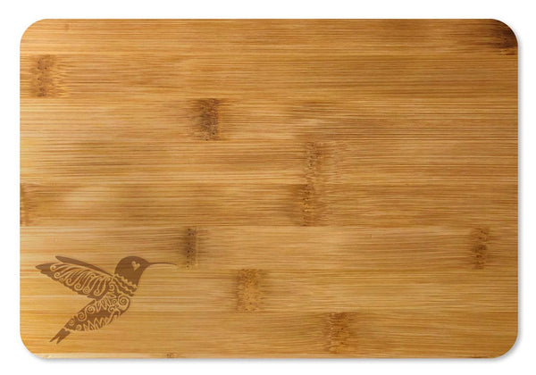 Bamboo Cutting Board / Wine and Cheese Tray - Hummingbird Decorative