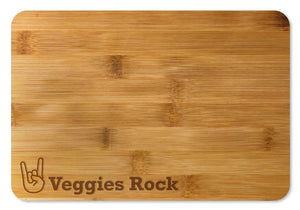 Bamboo Cutting Board / Wine and Cheese Tray - Veggies Rocks