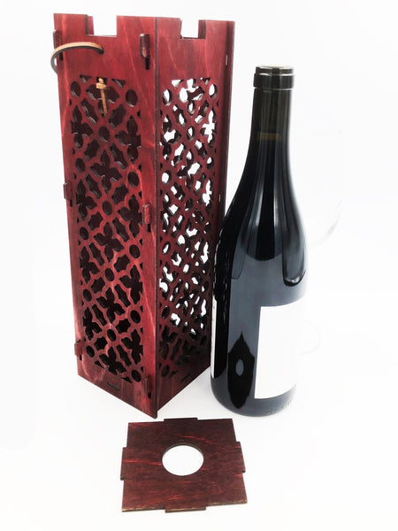 Wine Bottle Gift Box - Moroccan Pattern Burgundy Red Wood