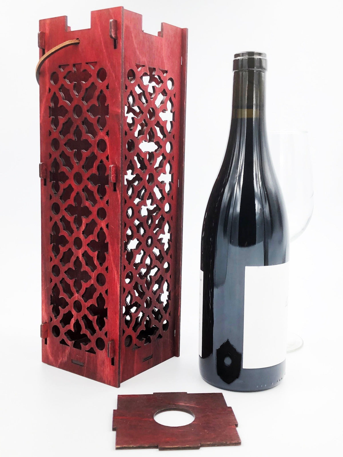 Wine Bottle Gift Box Moroccan Pattern Burgundy Red Wood