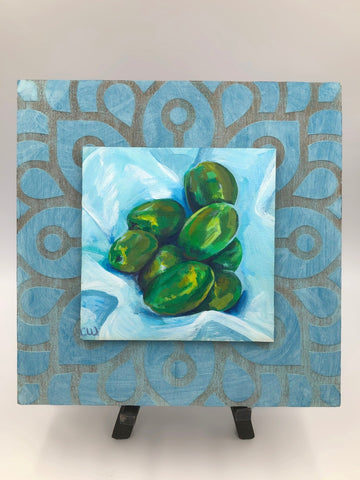 Green Olives on Blue, Original Acrylic Painting, Wall Art, Farmhouse Vintage, Hand Painted, Square, White