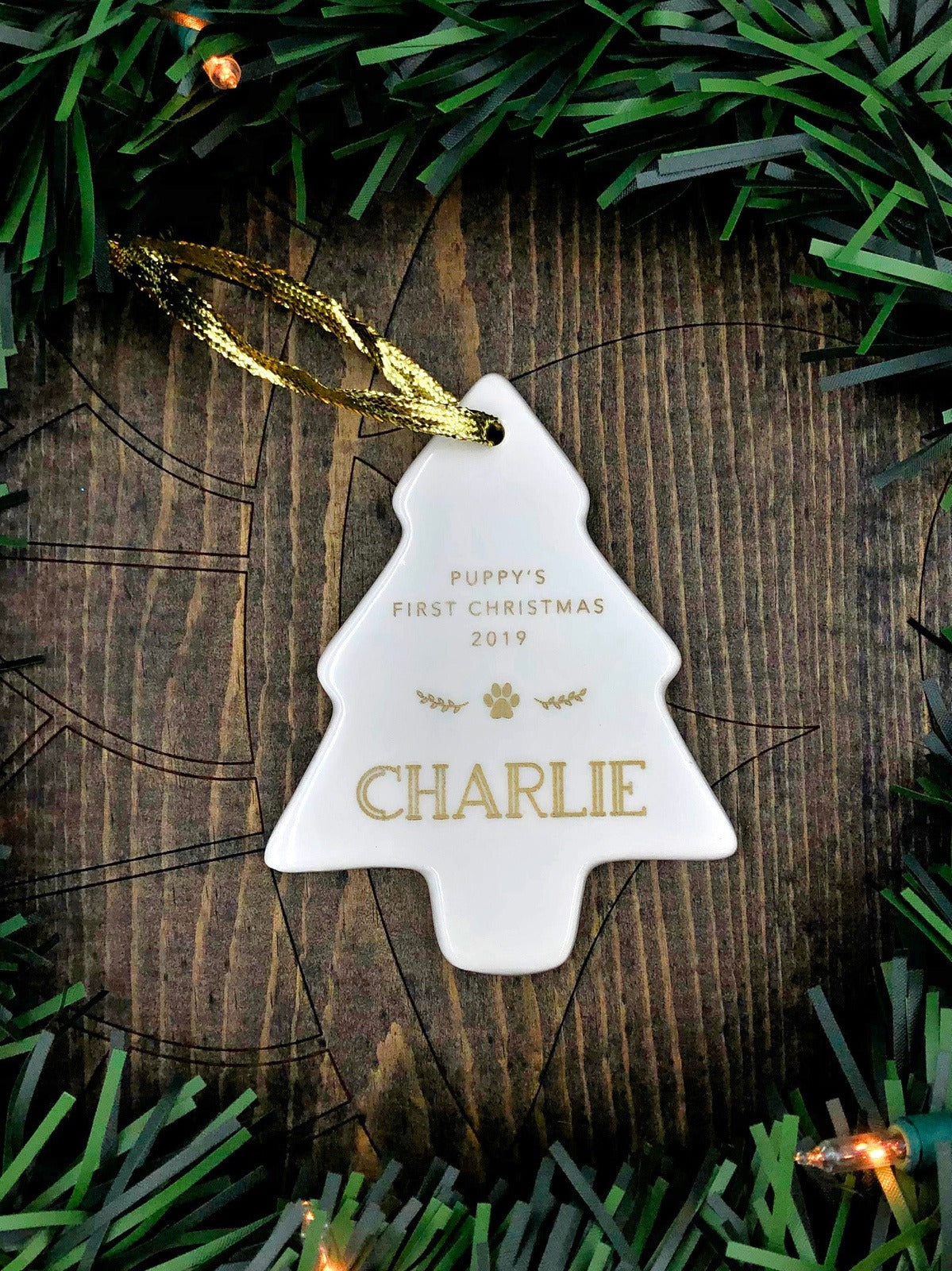 Puppy's First Christmas Ornament Personalized Tree Shape