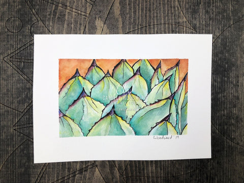 Santa Barbara Agave Original Watercolor Painting