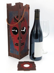Wine Bottle Gift Box Red Sugar Skull Navy Brown Burgundy Mandala