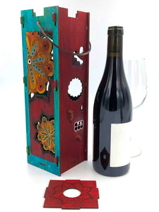 Wine Bottle Gift Box Red Sugar Skull Turquoise Burgundy Mandala